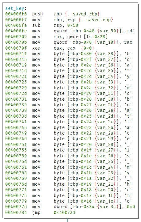 Disassembly of set_key function showing flag