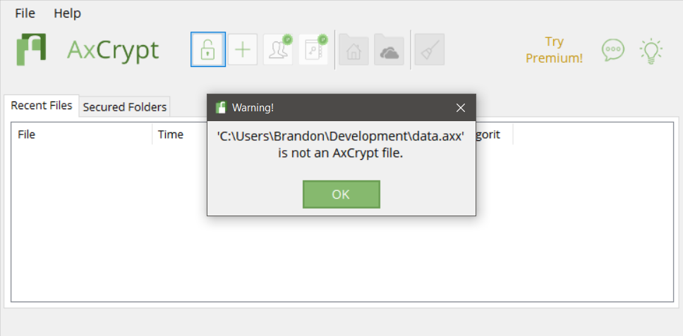 AxCrypt failing to load the file